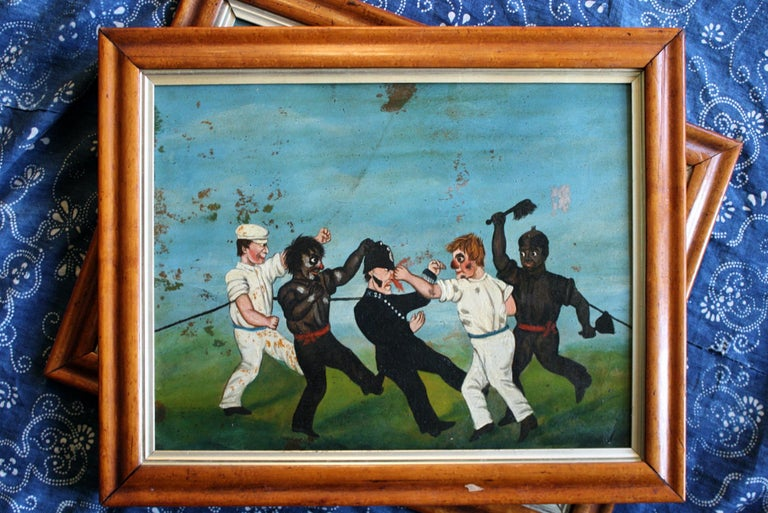 Collection of Six 19th Century Folk Art Oil on Board Boxing Fighting Scenes For Sale 10