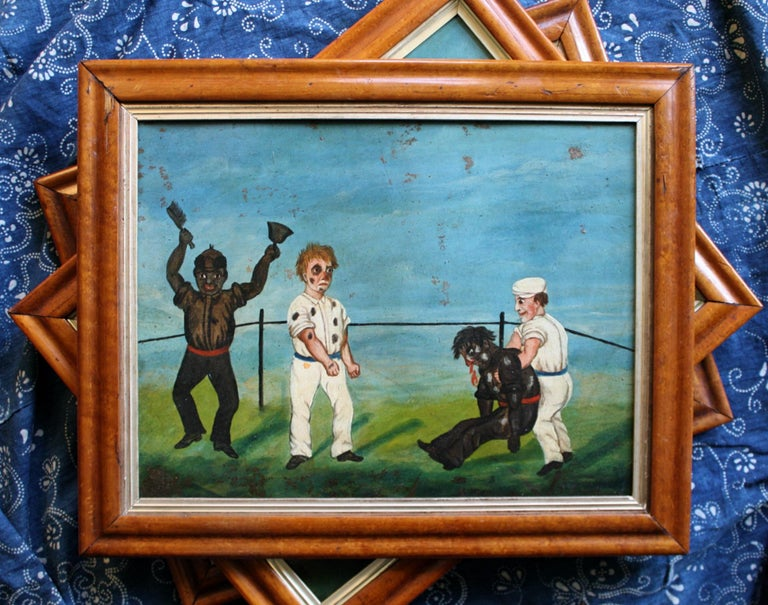 Collection of Six 19th Century Folk Art Oil on Board Boxing Fighting Scenes For Sale 11