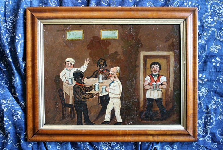 Collection of Six 19th Century Folk Art Oil on Board Boxing Fighting Scenes For Sale 15