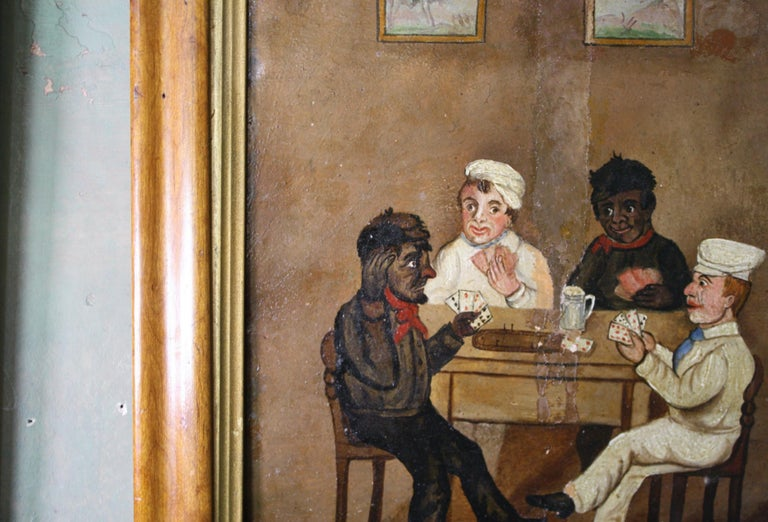 English Collection of Six 19th Century Folk Art Oil on Board Boxing Fighting Scenes For Sale