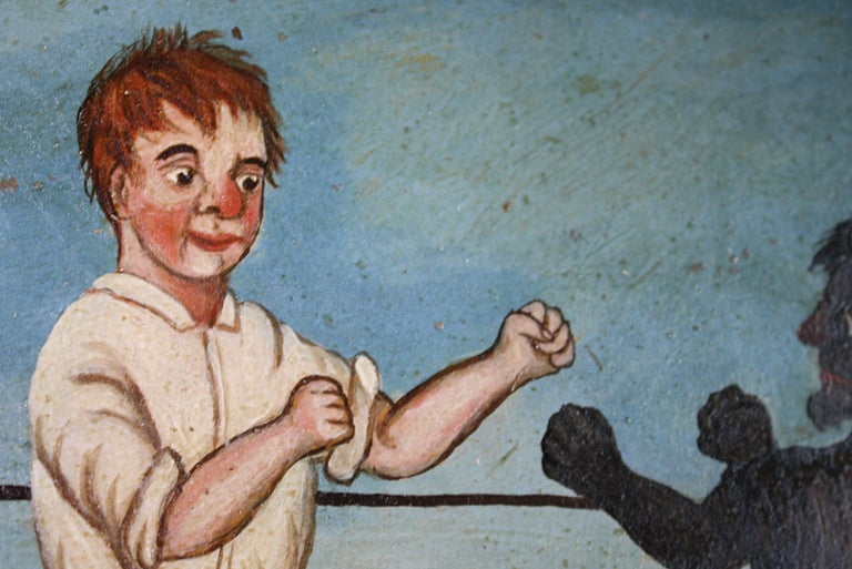 Collection of Six 19th Century Folk Art Oil on Board Boxing Fighting Scenes In Good Condition For Sale In Lowestoft, GB