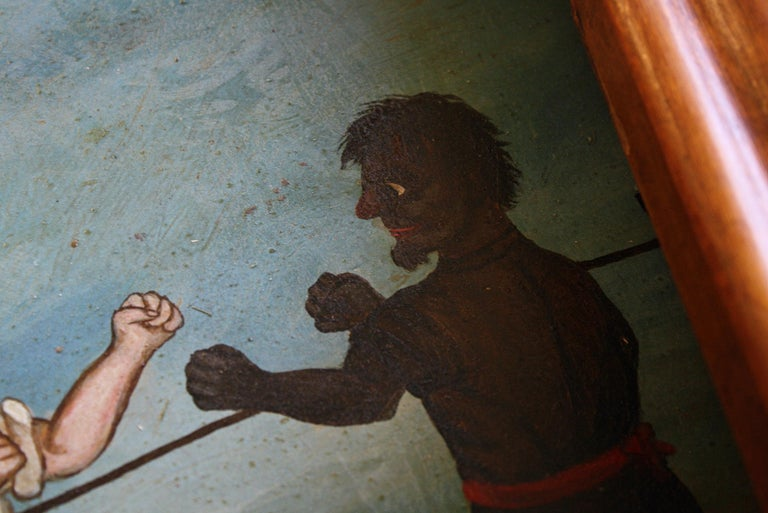 Maple Collection of Six 19th Century Folk Art Oil on Board Boxing Fighting Scenes For Sale