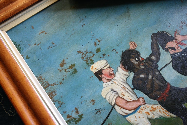 Collection of Six 19th Century Folk Art Oil on Board Boxing Fighting Scenes For Sale 1