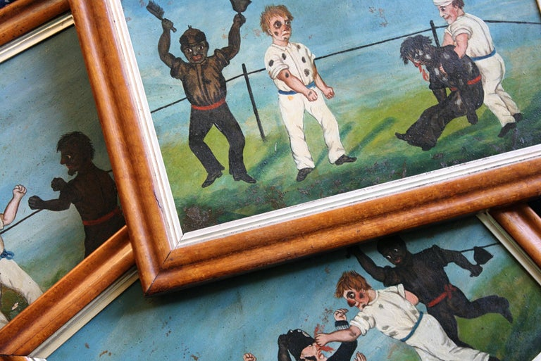 Collection of Six 19th Century Folk Art Oil on Board Boxing Fighting Scenes For Sale 3