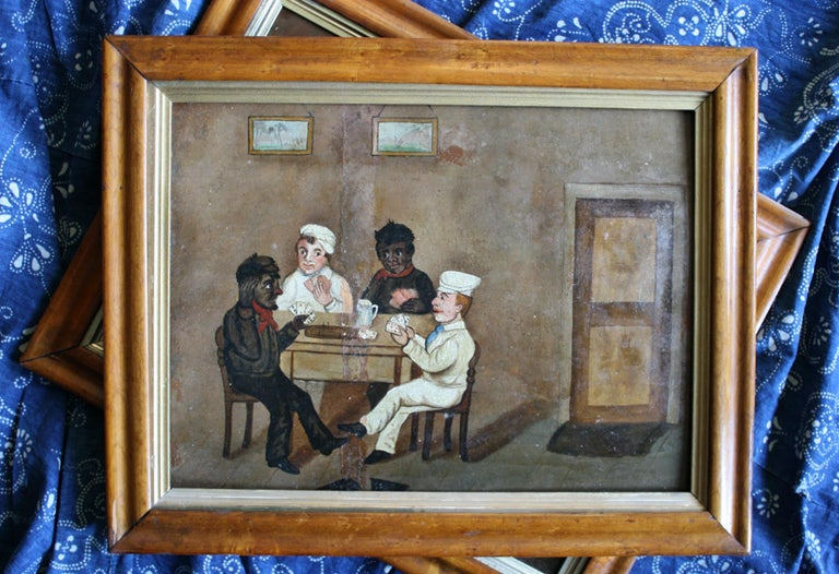 Collection of Six 19th Century Folk Art Oil on Board Boxing Fighting Scenes For Sale 4