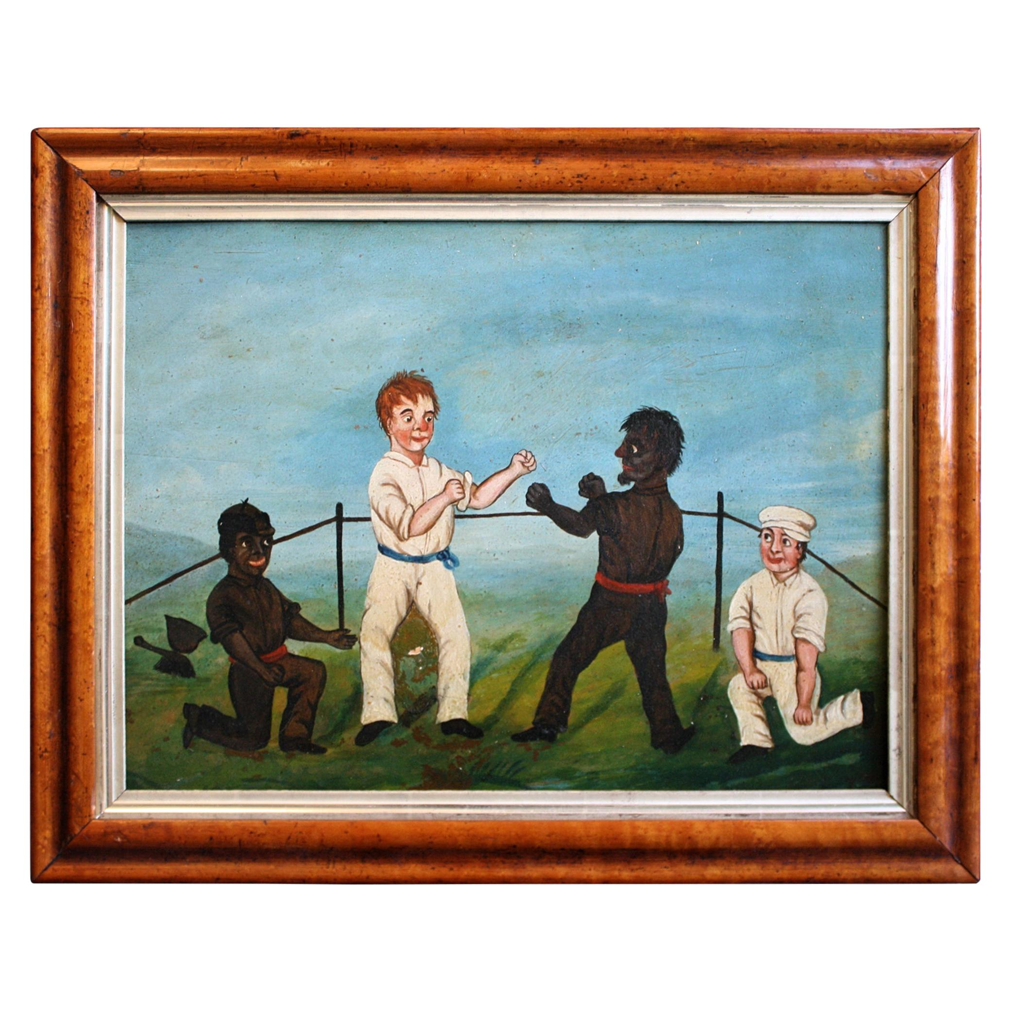 Collection of Six 19th Century Folk Art Oil on Board Boxing Fighting Scenes