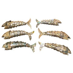 Collection of Six 20th Century Mexican Abalone & Reticulated Fish