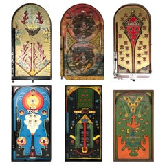 Collection of Six Antique Table Top Pinball Games, circa 1920s-1940s
