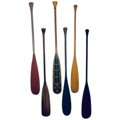 Collection of Six Antique Wooden Canoe Paddles with Original Painted Surfaces