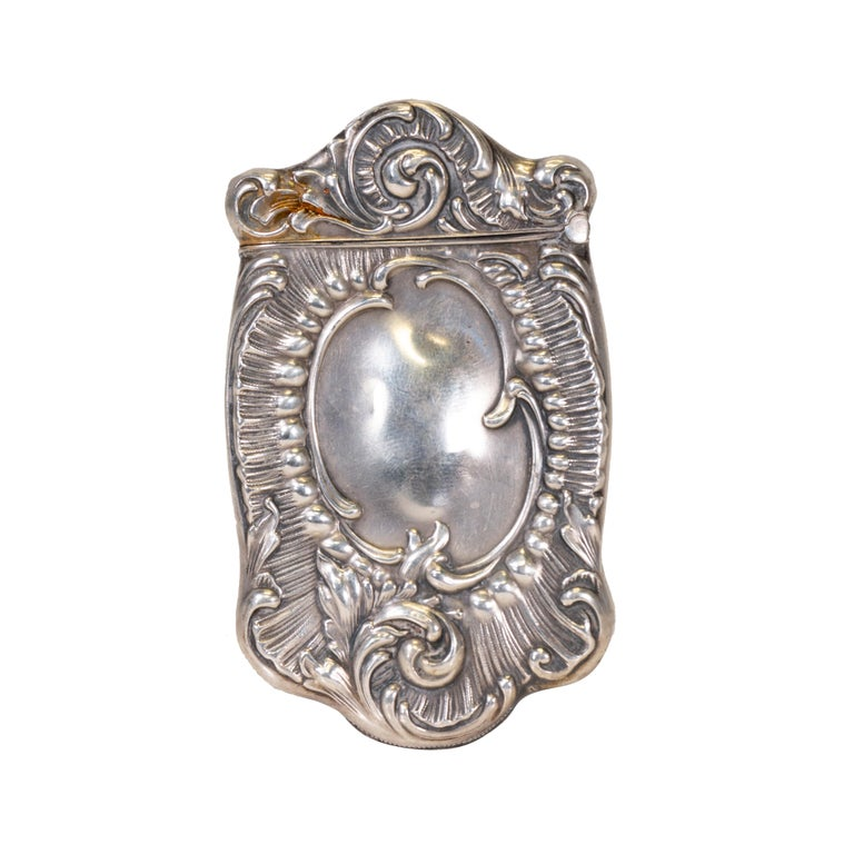 Sterling Silver Collection of Six Art Nouveau Sterling Match Safes For Sale