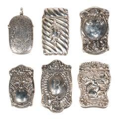 Collection of Six Art Nouveau Sterling Match Safes