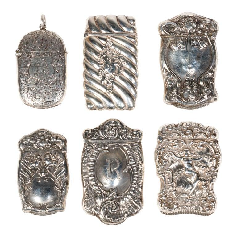 Collection of Six Art Nouveau Sterling Match Safes For Sale