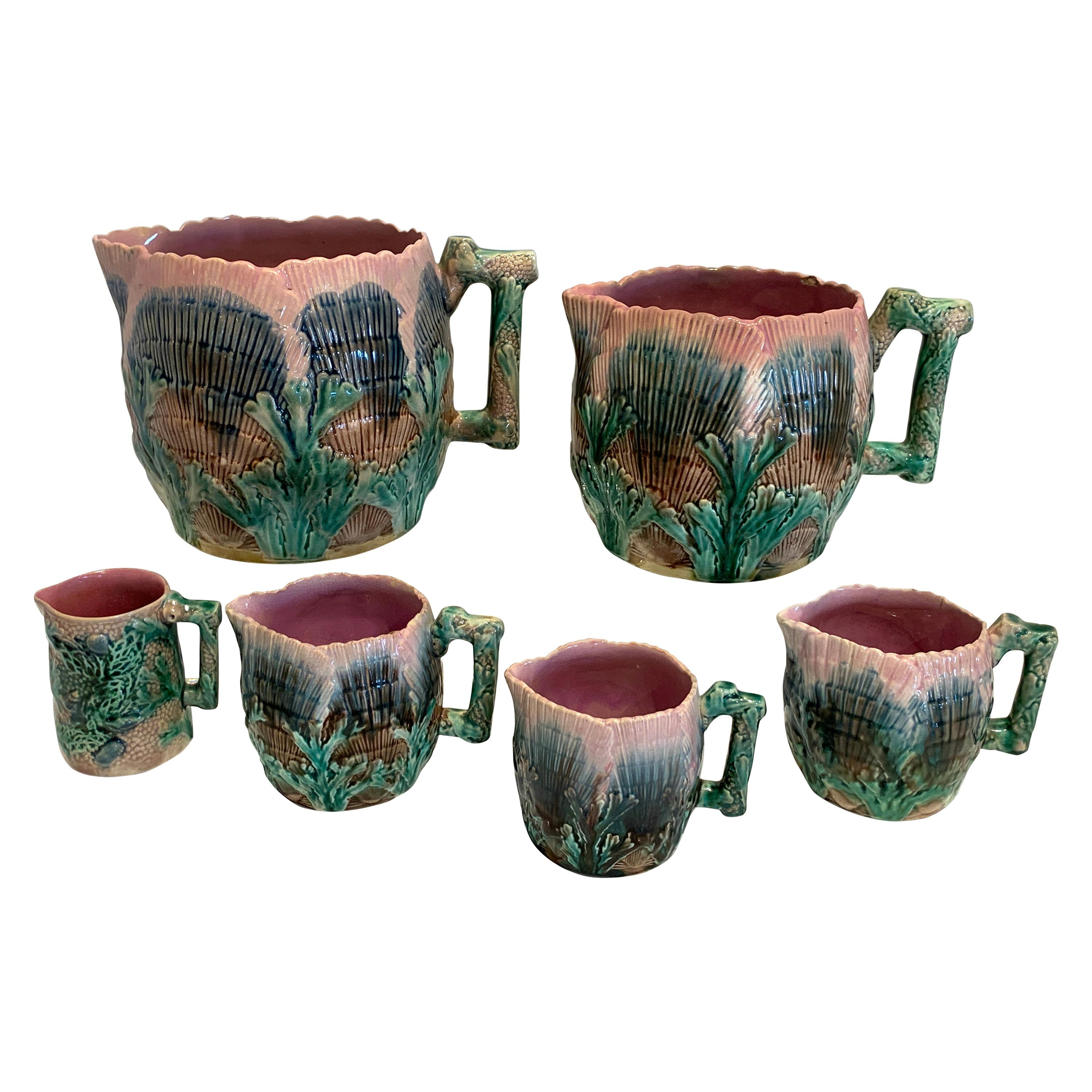 Collection of Six Etruscan Majolica Shell and Seaweed Pitchers