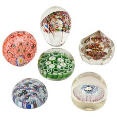 Collection of Six Glass Multicolored Paperweights