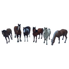 Collection of Six Large Vintage Breyer Horses