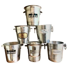Collection of Six Marvelous Vintage Graphic Champagne Buckets Wine Coolers