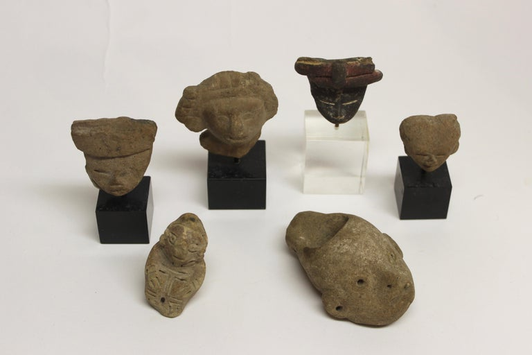 Collection of six Pre-Columbian pottery figures  They measure (as displayed from left): #1. 2.25