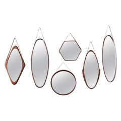 Collection of Six Walnut Mirrors, Italy, 1960