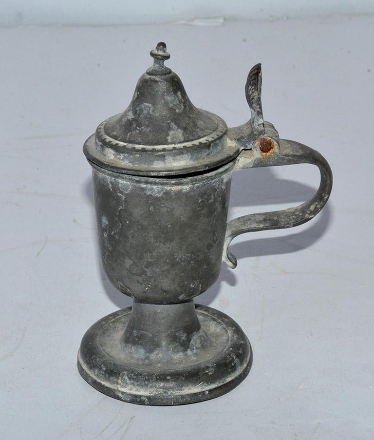 Collection of Small Early Pewter Cups and Jugs In Good Condition For Sale In Great Barrington, MA