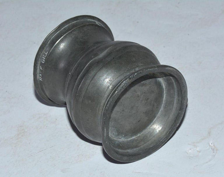 Collection of Small Early Pewter Cups and Jugs For Sale 2