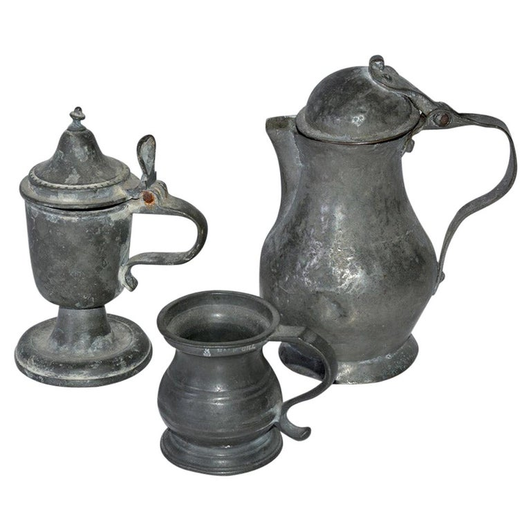 Collection of Small Early Pewter Cups and Jugs For Sale