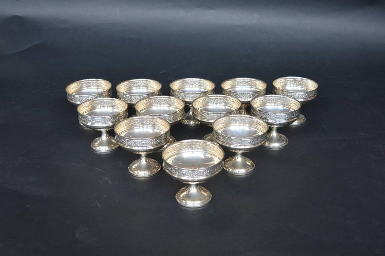 Collection of Sterling Silver Ice Cream Dishes In Excellent Condition For Sale In Los Angeles, CA