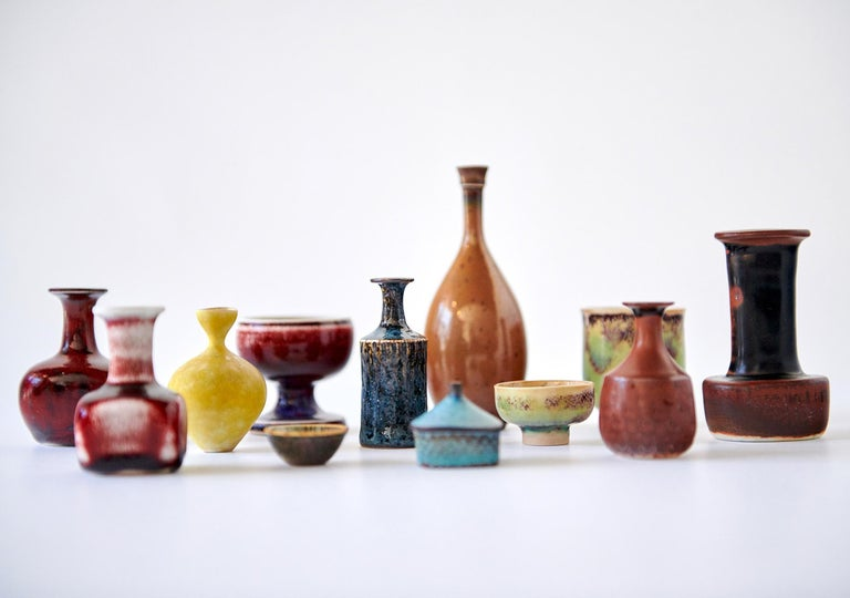 Swedish Collection of Stig Lindberg Miniature Studio Ceramics For Sale