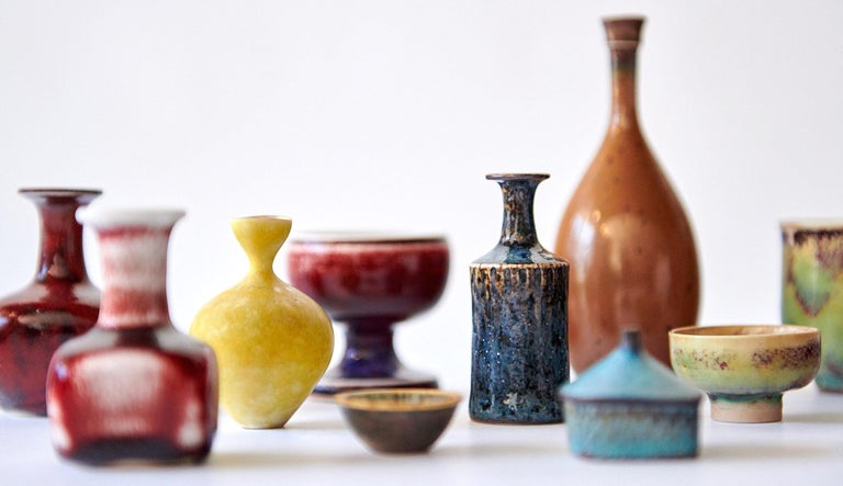 Collection of Stig Lindberg Miniature Studio Ceramics In Excellent Condition For Sale In Los Angeles, CA