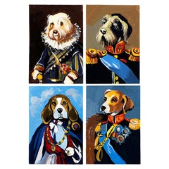 Collection of Surrealist Dog Portrait Paintings in Period Attire, Set of 4