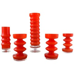 Collection of Swedish Art Glass, Five Orange Vases in Modern Design
