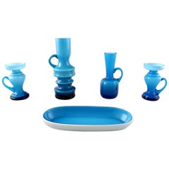 Collection of Swedish Art Glass, Four Turquoise Vases and Dish in Modern Design