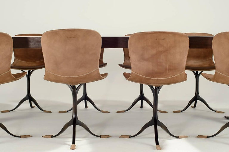 Mid-Century Modern Collection of Ten Brass and Leather Chairs, Made to Order by P.Tendercool For Sale
