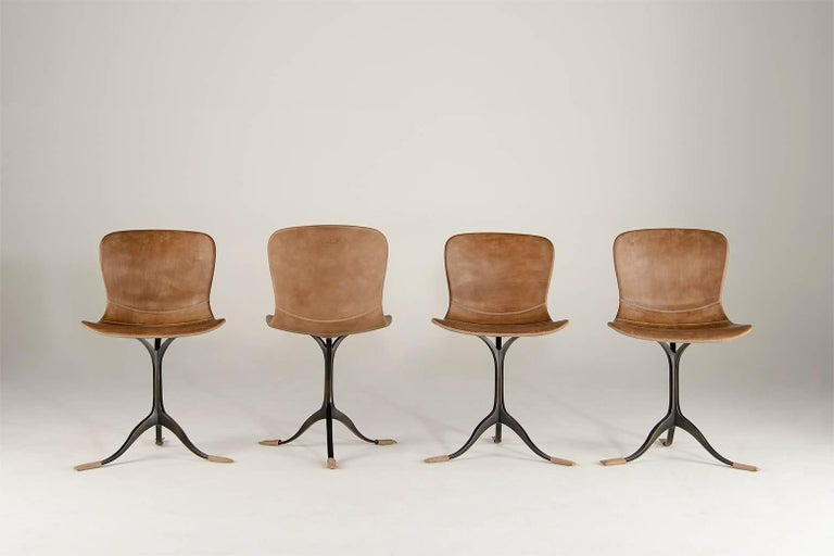 Contemporary Collection of Ten Brass and Leather Chairs, Made to Order by P.Tendercool For Sale