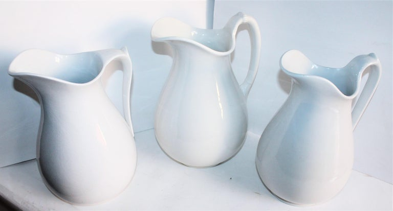 American Classical Collection of Three 19th Century Ironstone Water Pitchers For Sale