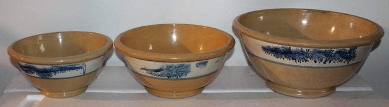 This set of three nesting yellow ware mocha seaweed kitchen bowls are in fine condition. Its great to find a set of three graduated matching bowls.  1) Small 4' high x 9 wide 2) Medium 4 high x 9 1/2 wide 3) Large 5 high x 10 wide.
