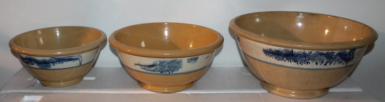 Adirondack Collection of Three 19th Century Mocha Yellow Ware Bowls For Sale