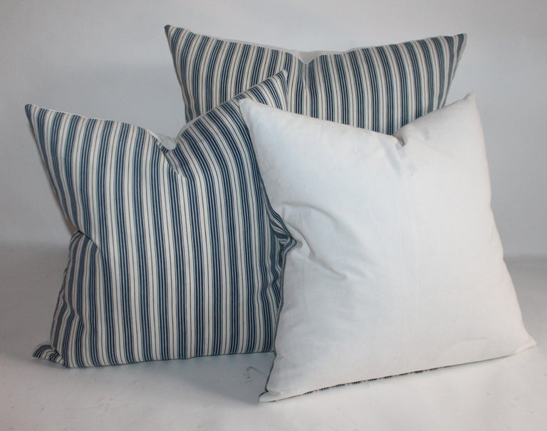 Collection of Three Antique Ticking Pillows, 3 In Good Condition For Sale In Los Angeles, CA