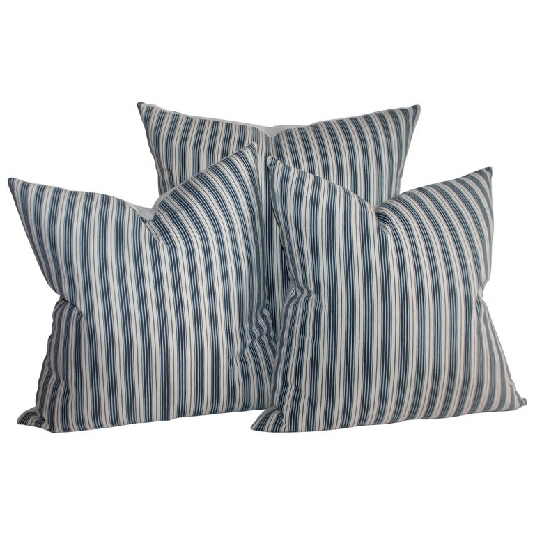 Collection of Three Antique Ticking Pillows, 3 For Sale