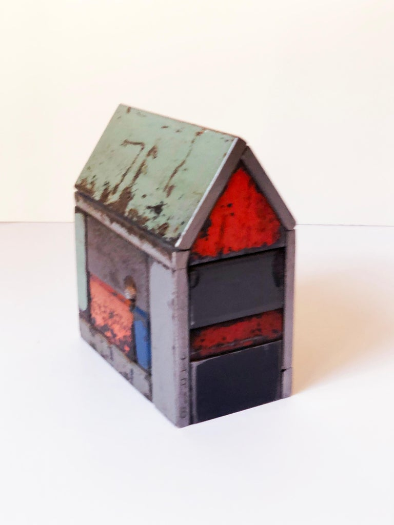 Folk Art Collection of Three Barn House Structures by Jim Rose, Welded Salvaged Steel For Sale