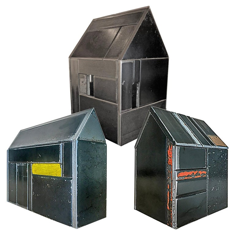 Collection of Three Barn House Structures by Jim Rose, Welded Salvaged Steel For Sale
