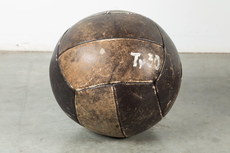 American Collection of Three Black Vintage Leather Medicine Balls For Sale