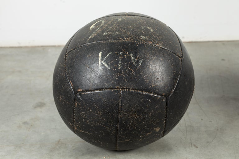 20th Century Collection of Three Black Vintage Leather Medicine Balls For Sale