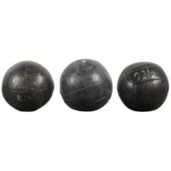 Collection of Three Black Vintage Leather Medicine Balls