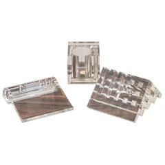Collection of Three Lucite Desktop Pen and Letter Holders by Harvey Guzzini