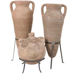 Collection of Three Mediterranean Spanish Colonial Style Terracotta Jars