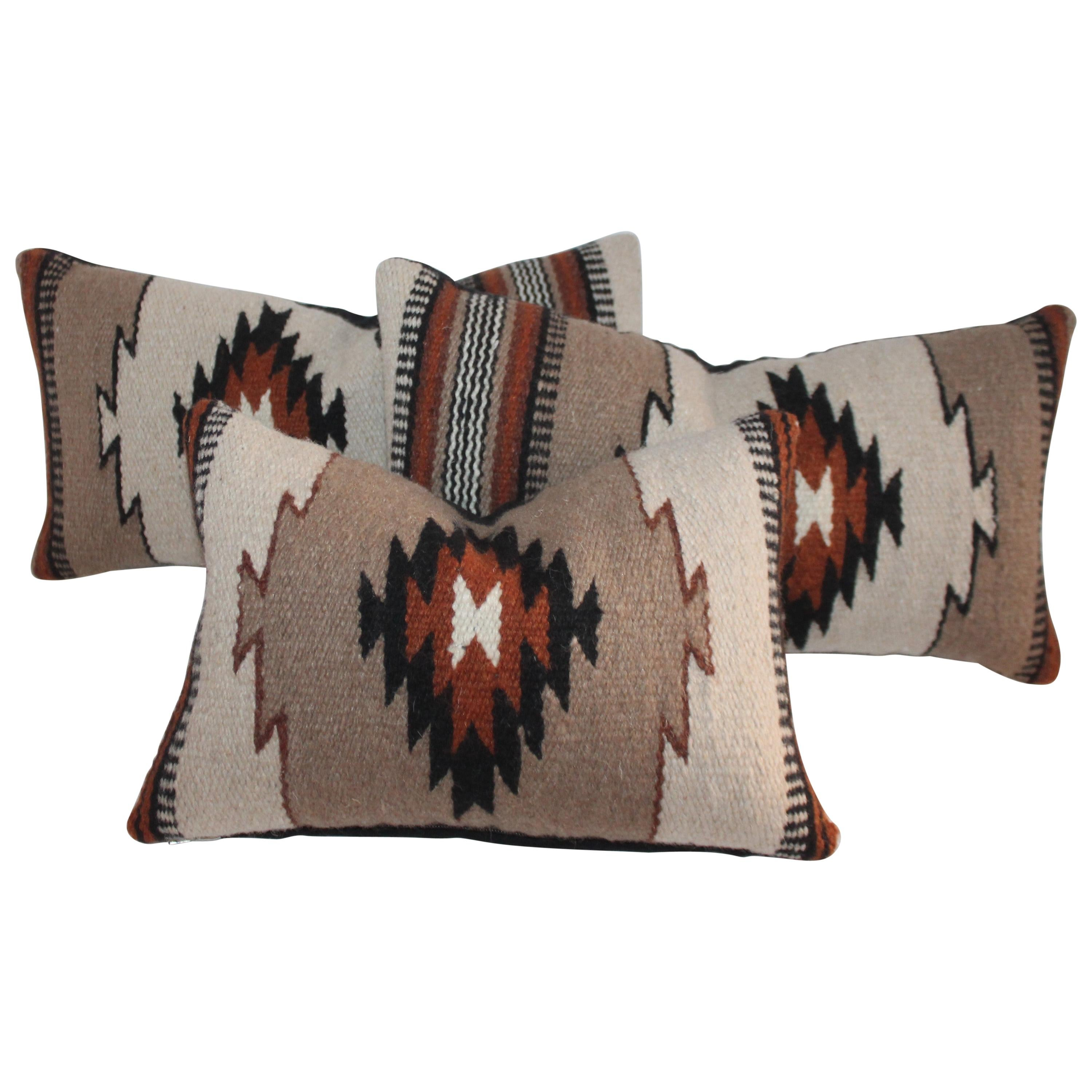 Collection of Three Mexican Indian Weaving Kidney Pillows