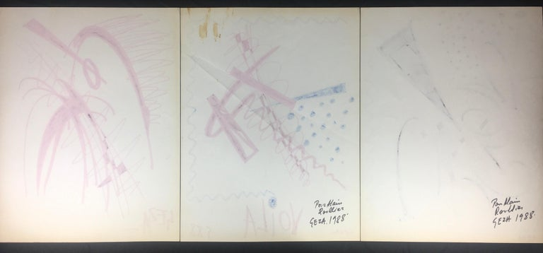 20th Century Collection of Three Modern Abstract Drawings Signed Geza, Manner of Franz Kline For Sale