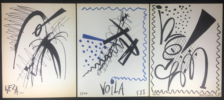Collection of Three Modern Abstract Drawings Signed Geza, Manner of Franz Kline For Sale 3