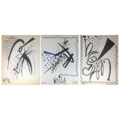Collection of Three Modern Abstract Drawings Signed Geza, Manner of Franz Kline