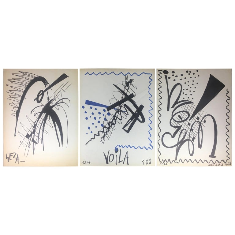 Collection of Three Modern Abstract Drawings Signed Geza, Manner of Franz Kline For Sale